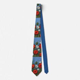 Poppies and Daisies, Original Painting, Art Tie