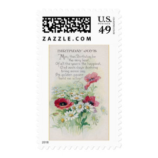 Poppies and Daisies Vintage Birthday Stamps