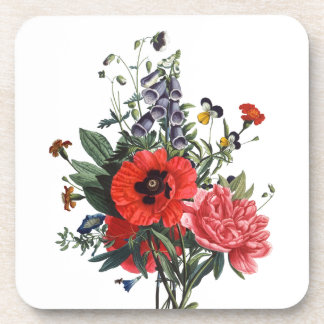 Poppies and Foxgloves Bouquet Beverage Coaster