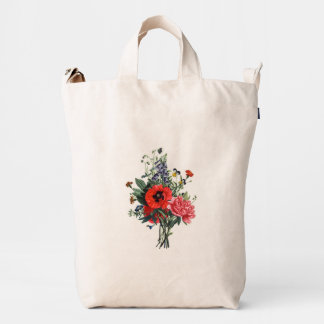 Poppies and Foxgloves Bouquet Duck Bag