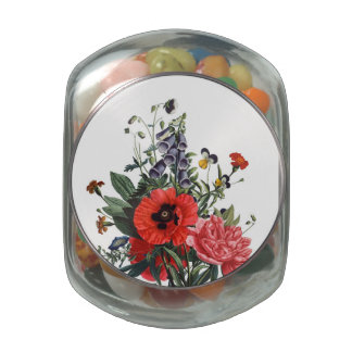 Poppies and Foxgloves Bouquet Glass Jar