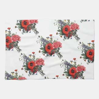 Poppies and Foxgloves Bouquet Hand Towel