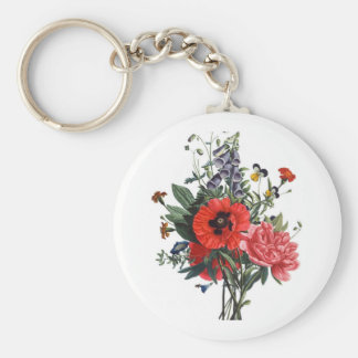 Poppies and Foxgloves Bouquet Keychain
