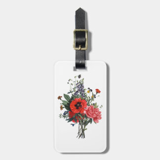 Poppies and Foxgloves Bouquet Luggage Tag