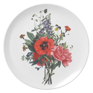Poppies and Foxgloves Bouquet Melamine Plate