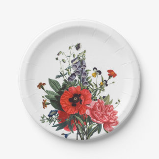 Poppies and Foxgloves Bouquet Paper Plate