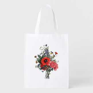 Poppies and Foxgloves Bouquet Reusable Grocery Bag