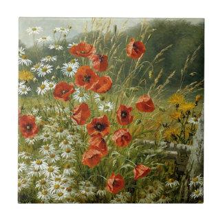 Poppies and Irises Ceramic Tile