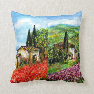 POPPIES AND IRISES IN TUSCANY THROW PILLOW