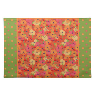 Poppies and Polka Dots on Green Cloth Placemat