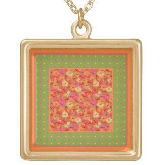Poppies and Polka Dots on Green Pendant Necklace