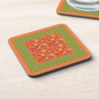 Poppies and Polka Dots on Green Set of Coasters