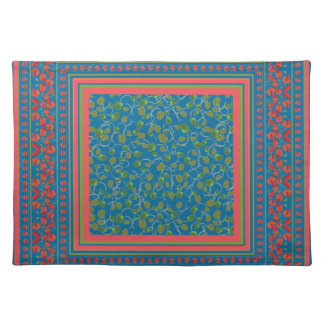 Poppies and Poppy Buds on Blue Cloth Placemat