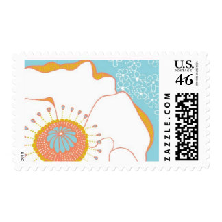 Poppies and Posies - Poppy Aqua Coral Citrine Postage