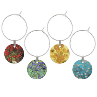 Poppies and Sunflowers by Vincent van Gogh Wine Charm
