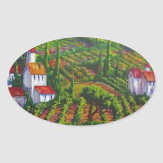 Poppies and Vineyards Oval Sticker