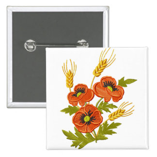 Poppies and Wheat Embroidery-Style Button