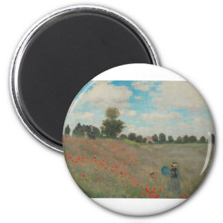 Poppies at Argenteuil (1873) 2 Inch Round Magnet