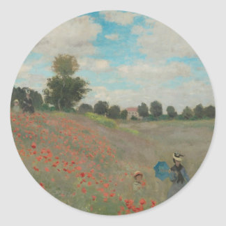 Poppies at Argenteuil (1873) Classic Round Sticker