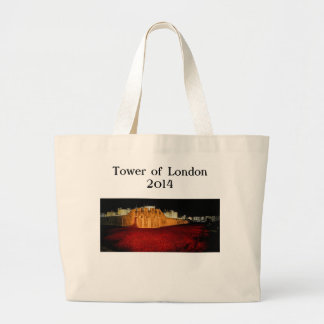 Poppies at the Tower of London - Night Panorama Large Tote Bag