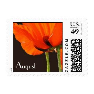 Poppies August Birthday Flower Stamp