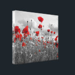 "Poppies Black, White and Red Canvas Print<br><div class=""desc"">A good quality printed canvas with a unique image of a wild poppy and daisy field taken in black white and red,  these simple colors will look good on any wall.</div>"