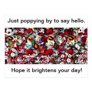 Poppies, bright florals, hello card post card