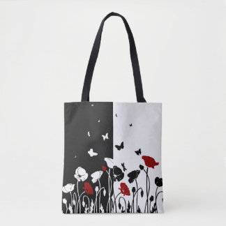 POPPIES, BUTTERFLIES, AND DRAGONFLIES TOTE BAG