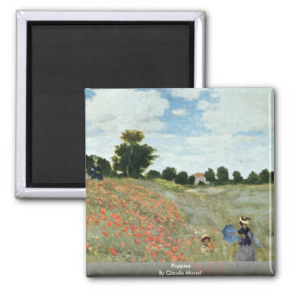 Poppies By Claude Monet 2 Inch Square Magnet