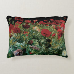 Poppies by Sargent, Vintage Flowers Floral Art Accent Pillow