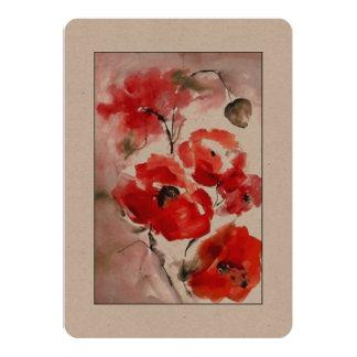 "Poppies. Card 5"" X 7"" Invitation Card"