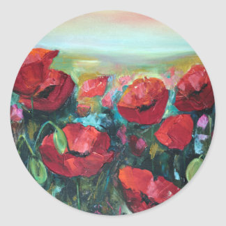 Poppies Classic Round Sticker