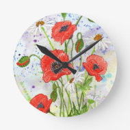 'Poppies' Clock
