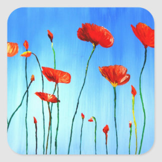 Poppies - Dance in the Sun Square Sticker
