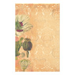 Poppies Deluxe: White and red poppy botanical prin Stationery