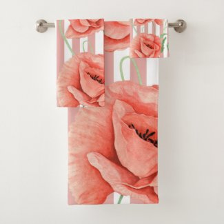 Poppies Dusty Pink Stripes Chic Bath Towel Set