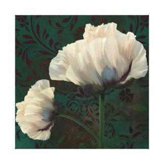 Poppies en Verdigris cream poppy flowers green Canvas Print