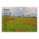 Poppies field business card templates