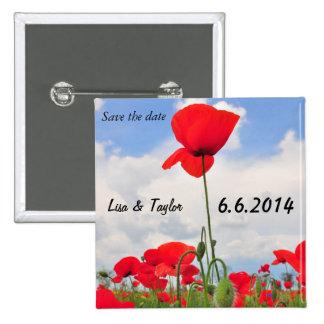 Poppies field pinback button