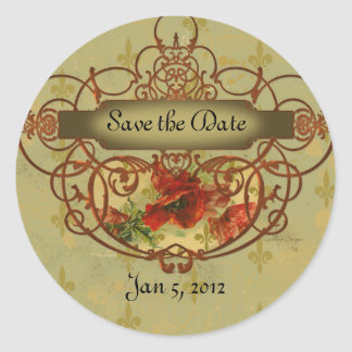 Poppies Fleur de Lis Save the Date Tags Stickers