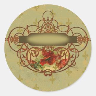 Poppies Fleur de Lis Victorian Style Sticker