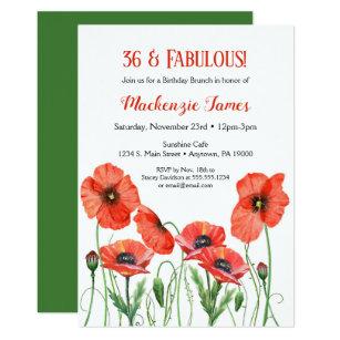 Poppies Floral Birthday Invitation Adult Poppy