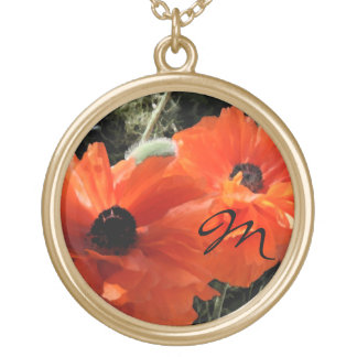 Poppies Floral Gold Chain Name Necklace