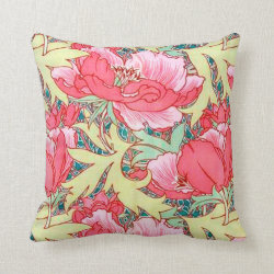 Poppies Floral Vintage Victorian Pillow Throw