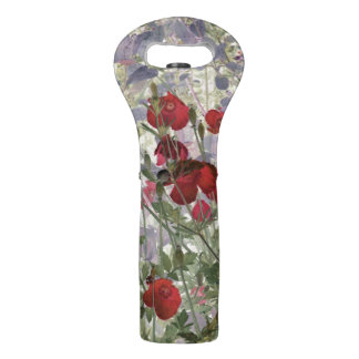 poppies floral wine tote
