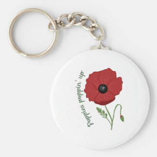 Poppies Flower Basic Round Button Keychain