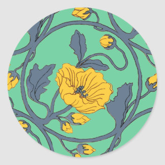 Poppies Flower Vintage Tile Design Art Nouveau Classic Round Sticker