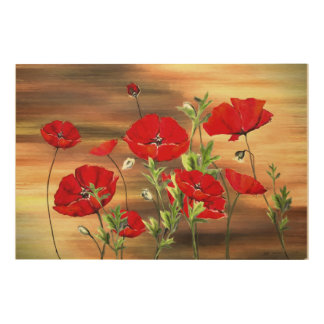 Poppies Flowers Mixed Media Painting  Wood Canvas