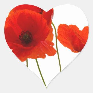 poppies heart sticker