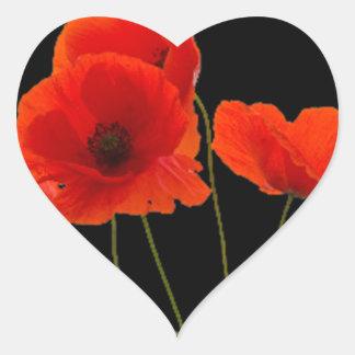 """""""Poppies"""" Heart Sticker"""